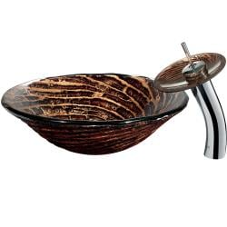 Caramel Vessel Sink in Chocolate Swirl with Waterfall Faucet - Thumbnail 1