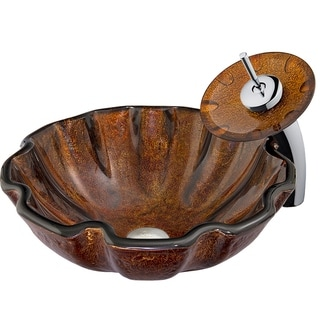 VIGO Walnut Shell Vessel Sink in Browns with Waterfall Faucet