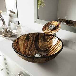 VIGO Zebra Glass Vessel Sink and Waterfall Faucet Set in Chrome