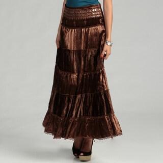 Tokyo Collection Women's Brown Mirror Sequin Tier Skirt