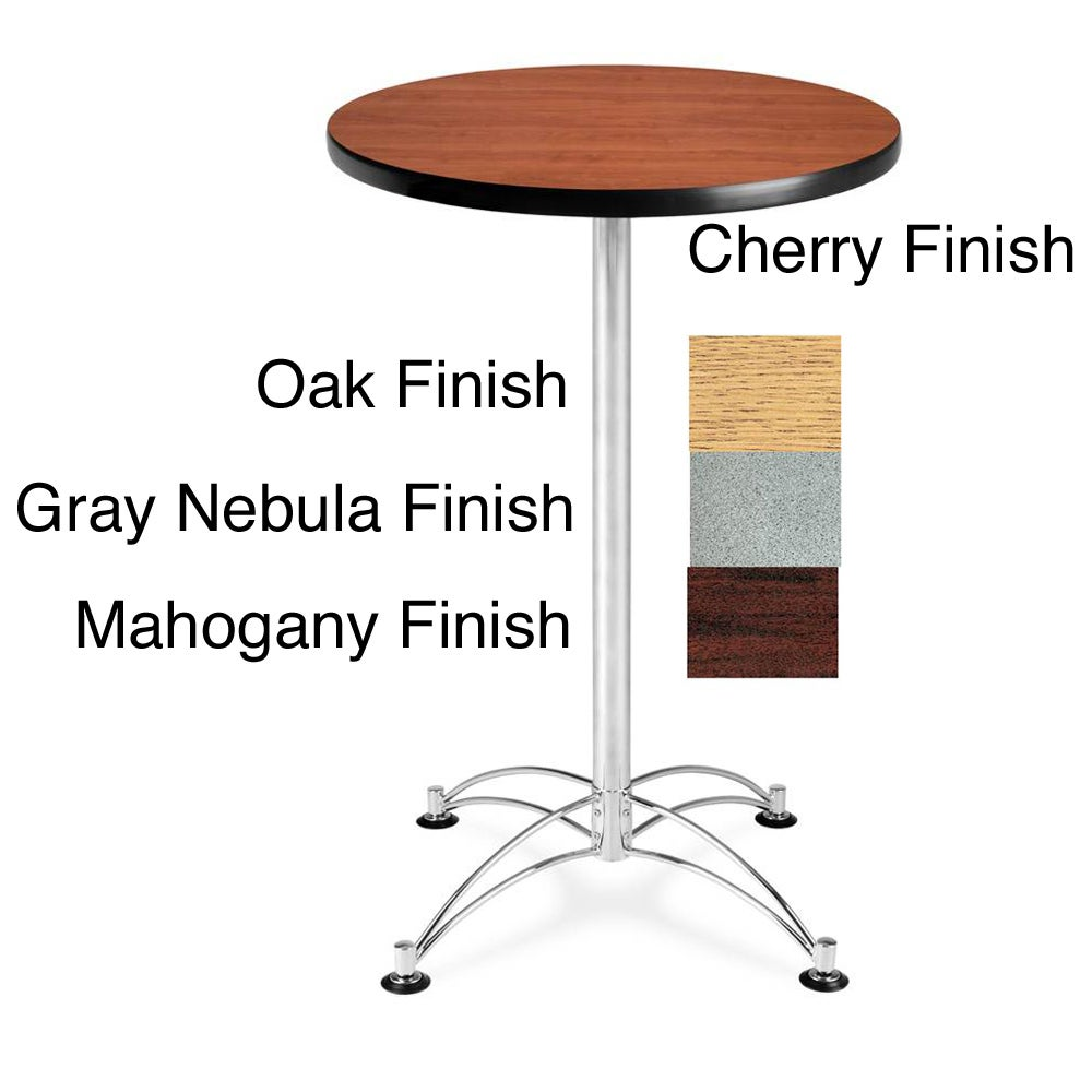 OFM 24-inch Round Laminate-top Cafe Table with Chromed Steel Base