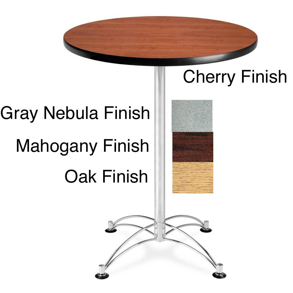 OFM 30-inch Round Cafe Table with Chrome Base (Brown - Ma...
