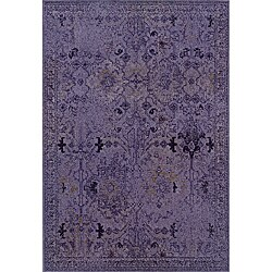 Over-dyed Distressed Traditional Purple/ Grey Area Rug (9'10 x 12'10)