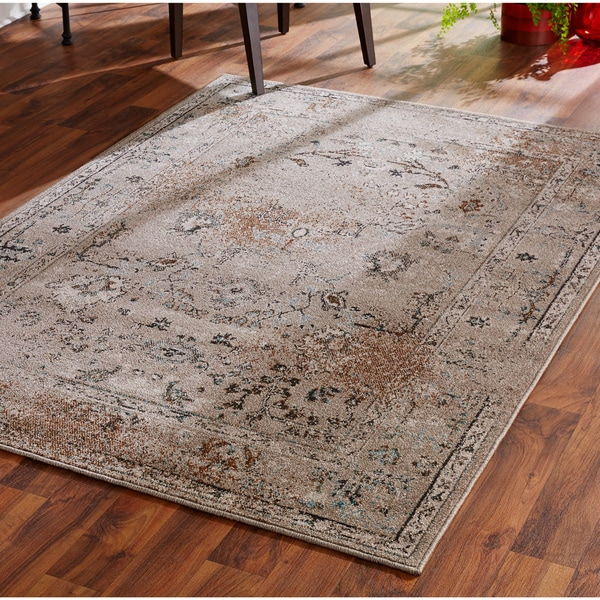 Over Dyed Distressed Traditional Grey Black Area Rug 9