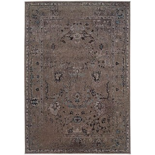 Over-dyed Distressed Traditional Grey/ Black Area Rug (9'10 x 12'10)