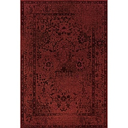Over-dyed Distressed Traditional Red/ Greyl Area Rug (9'10 x 12'10)