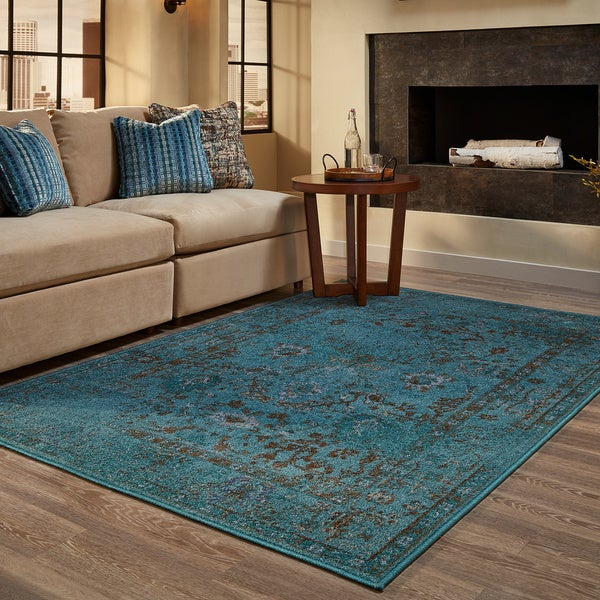 Over Dyed Distressed Traditional Teal Grey Area Rug 9 10
