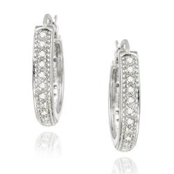DB Designs Sterling Silver 1/5ct TDW White Diamond Hoop Earrings