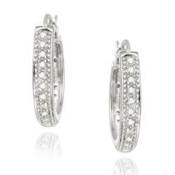 DB Designs Sterling Silver 1/5ct TDW White Diamond Hoop Earrings