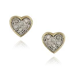 DB Designs Two-tone Sterling Silver 1/10ct TDW White Diamond Heart Earrings