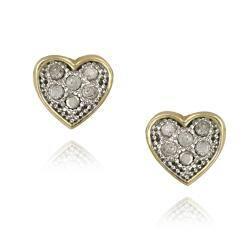 Db Designs Two Tone Sterling Silver 1 10ct Tdw White Diamond Heart Earrings