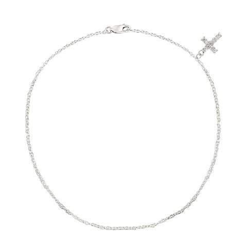 Icz Stonez Sterling Silver Cubic Zirconia Cross Charm Anklet