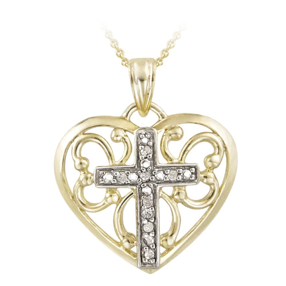 DB Designs 18k Gold over Silver 1/10ct TDW Diamond Heart Cross Necklace (J, I3)