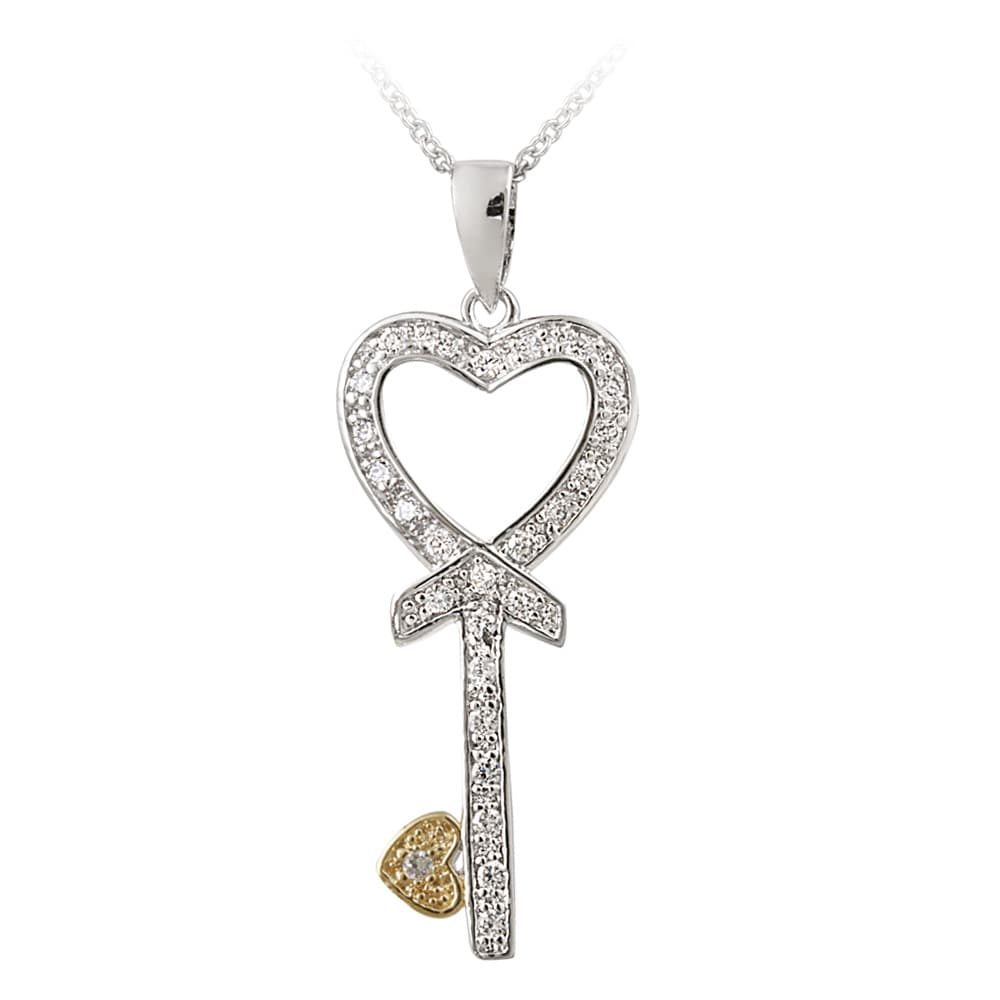 Icz Stonez Two-tone Sterling Silver Cubic Zirconia Heart Key Necklace