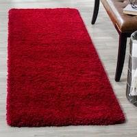 """Safavieh California Cozy Plush Red Shag Rug - 2'3"""" x 11'"""