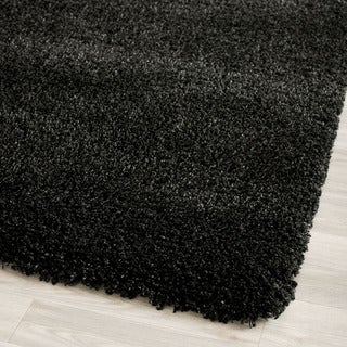 Safavieh California Cozy Solid Black Shag Rug (2'3 x 11')