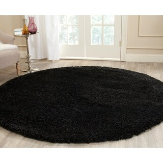 Safavieh California Cozy Plush Black Shag Rug - 4' x 4' Round