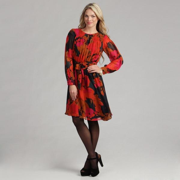 Calvin Klein Women's Size 10 Floral Printed Chiffon Dress