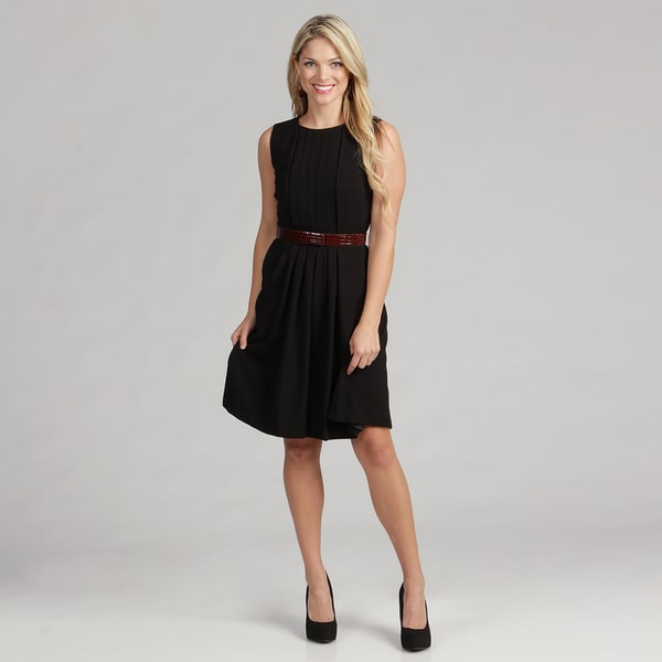 Calvin Klein Women's Pleated Luxe Croco-belt Dress