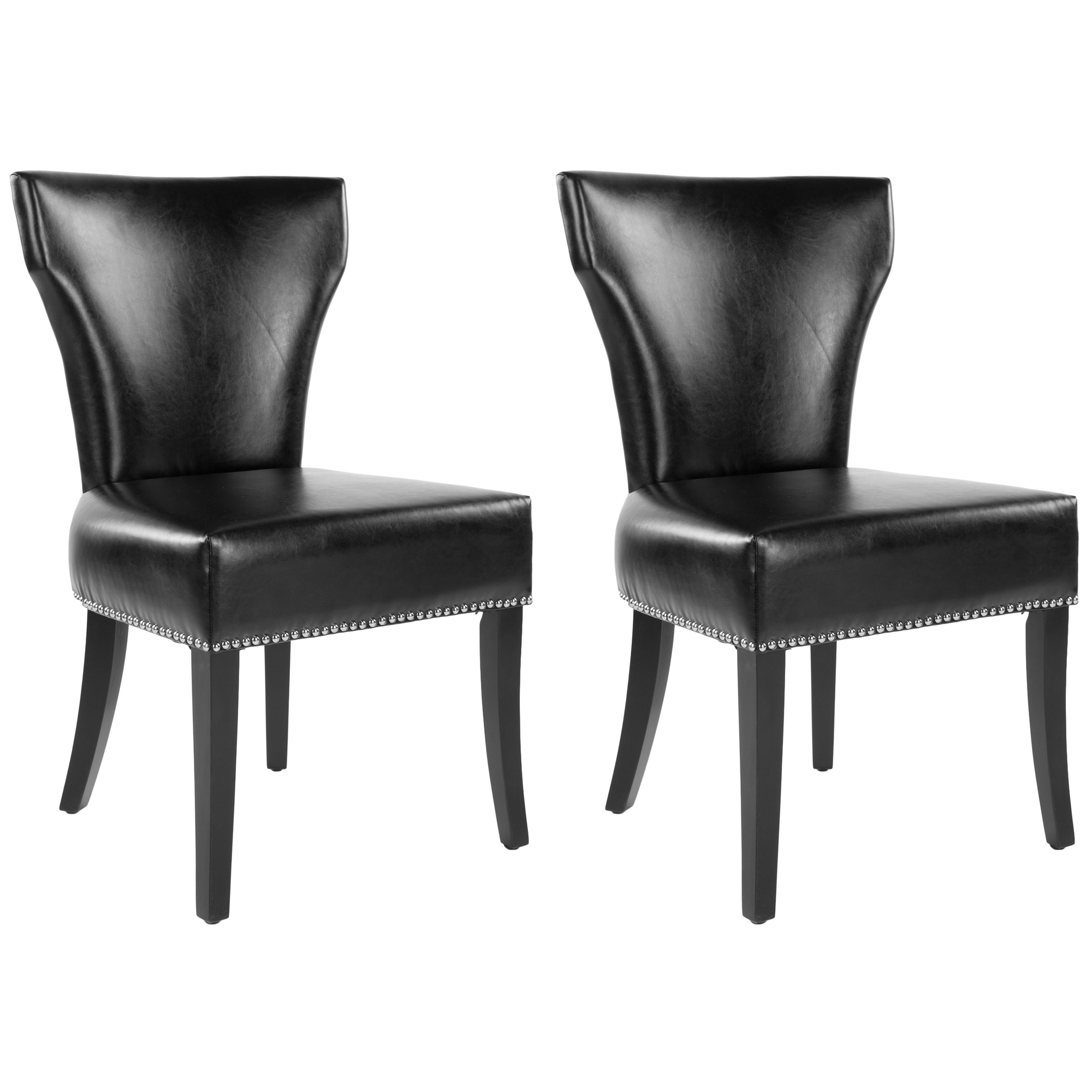 Safavieh En Vogue Dining Matty Black Leather Nailhead ...