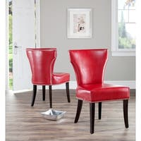 Safavieh En Vogue Dining Matty Red Leather Nailhead Dining Chairs (Set of 2)