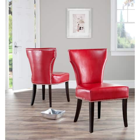 "SAFAVIEH En Vogue Dining Matty Red Leather Nailhead Dining Chairs (Set of 2) - 22.8"" x 25.8"" x 37"""
