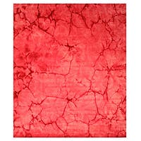 Handmade Wool Pink Contemporary Abstract Dip Dyed Rug (5' x 8') - 5' x 8'
