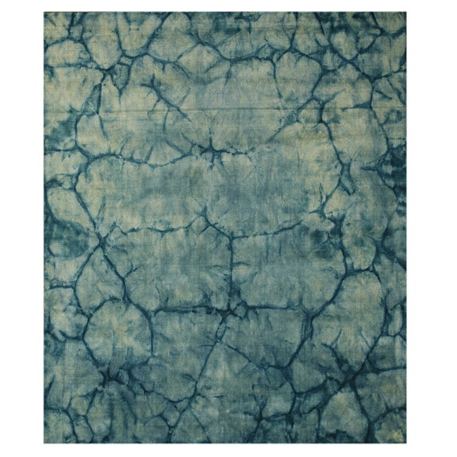Handmade Wool Teal Contemporary Abstract Dip Dyed Rug (8' x 10')