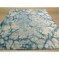 Handmade Wool Teal Contemporary Abstract Dip Dyed Rug (8' x 10') - Thumbnail 2