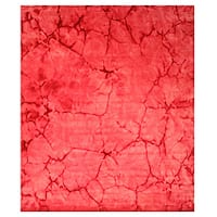Handmade Wool Pink Contemporary Abstract Dip Dyed Rug - 8' x 10'