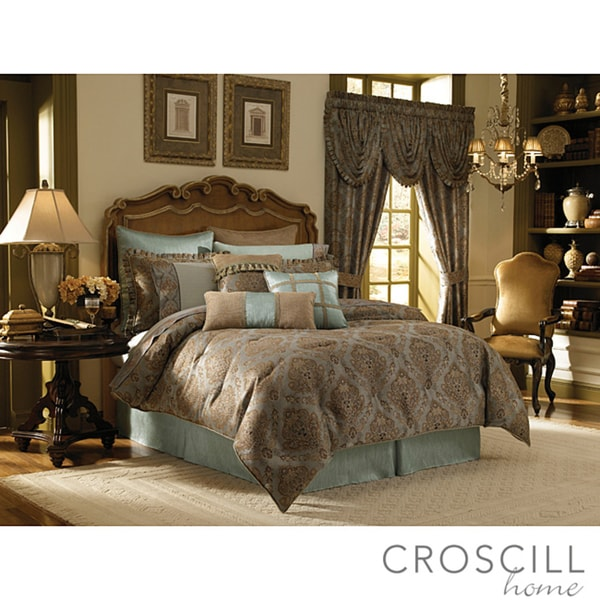 Croscill Laviano Aqua King Size 4 Piece Comforter Set