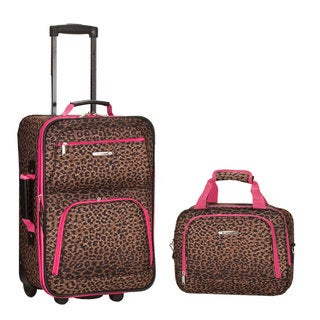 Rockland Deluxe Pink Leopard 2-piece Lightweight Carry-on Luggage Set