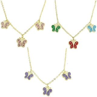 Molly and Emma 14k Gold Overlay Children's Enamel Butterfly Necklace (3 options available)