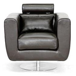Leather Swivel Chair with Adjustable Headrest