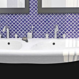 SomerTile 10.75x11.25-inch Morocco Mini Glossy Cobalt Porcelain Mosaic Floor and Wall Tile (10 tiles/8.4 sqft.)