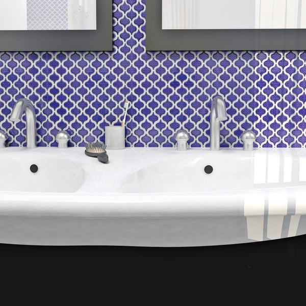 SomerTile 10.75x11.25-inch Morocco Mini Cobalt Porcelain Mosaic Floor and Wall Tile (Pack of 10)