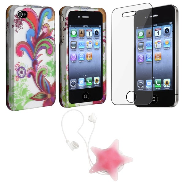 Flower Case/ LCD Protector/ Headset Wrap for Apple iPhone 4S