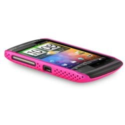 Pink Meshed Rear Snap-on Rubber Coated Case for HTC Desire S