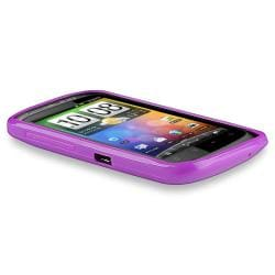 Purple Jelly TPU Rubber Skin Case for HTC Desire S - Thumbnail 2