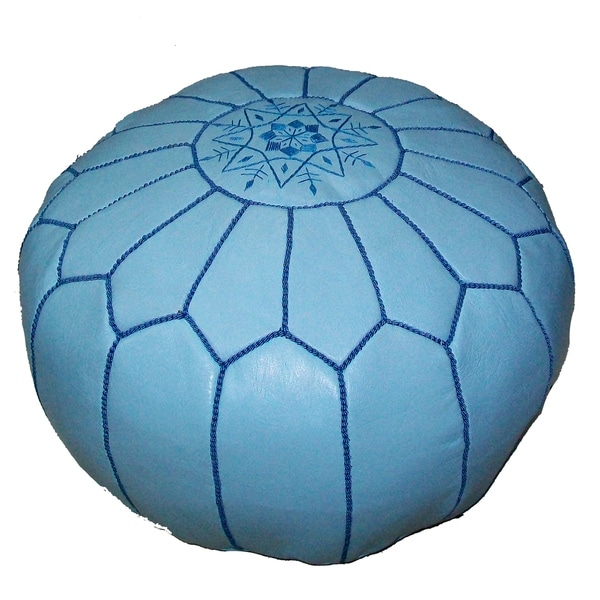 Handmade Moroccan Contemporary Leather Ottoman Pouf Turquoise (Morocco)