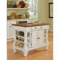 Gracewood Hollow Benjamin Antiqued White Kitchen Island