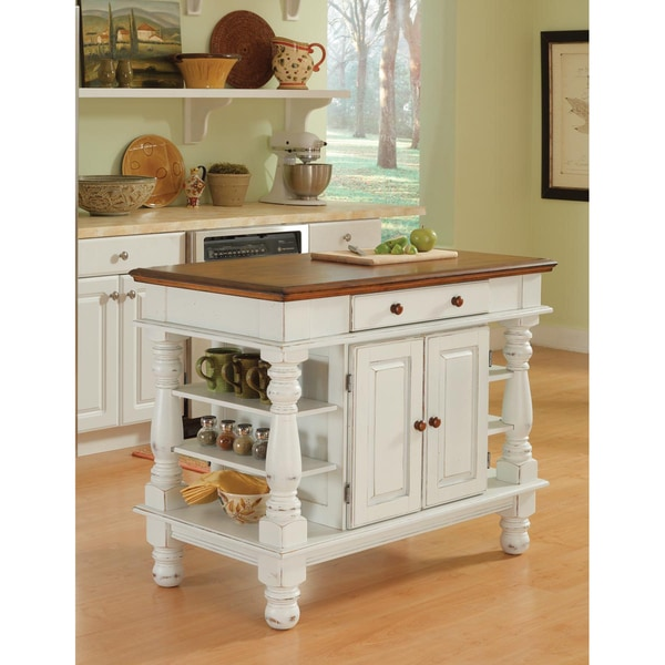 Americana Antiqued White Kitchen Island by Home Styles