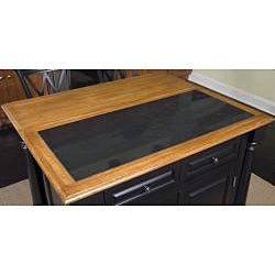 Monarch Island with Granite Top Black/ Distressed Oak Finish and Bar Stools by Home Styles - Thumbnail 1