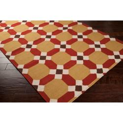 Handwoven Red Anchor Wool Area Rug (5' x 8') - Thumbnail 1