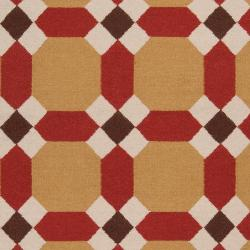 Handwoven Red Anchor Wool Area Rug (5' x 8') - Thumbnail 2