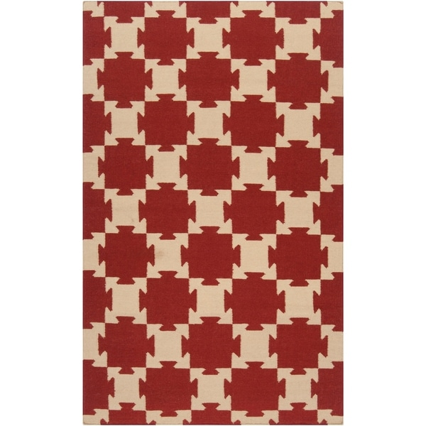 Hand-woven Red Anchor Wool Area Rug - 5' x 8'
