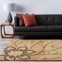 Hand-tufted Beige Athenine Floral Wool Area Rug - 4' Round