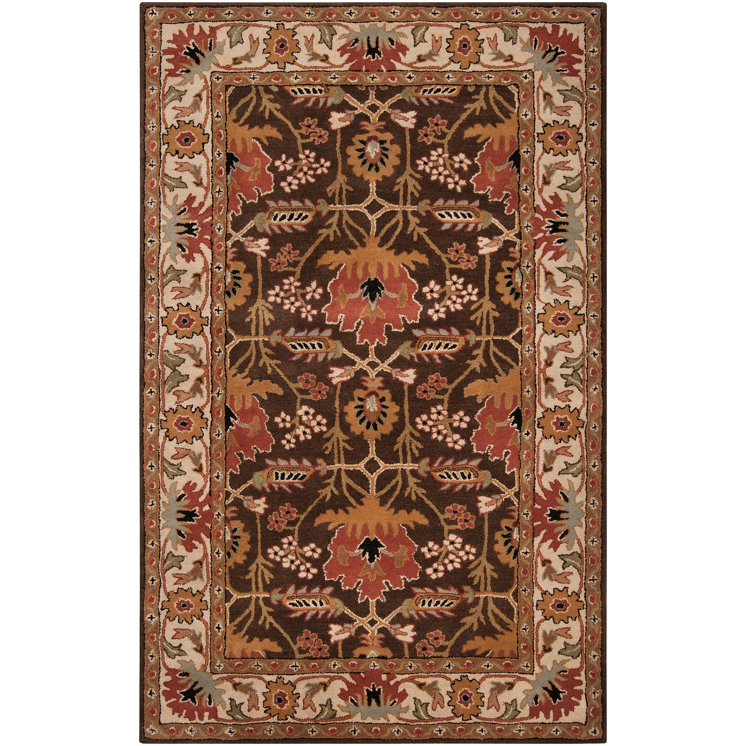 Hand-tufted Brown/Orange Traditional Bordered Ora Wool Rug (5' x 8')