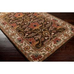 Hand-tufted Brown/Orange Traditional Bordered Ora Wool Rug (5' x 8') - Thumbnail 1