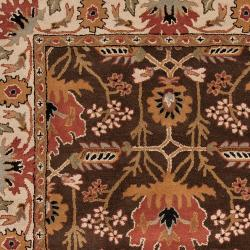 Hand-tufted Brown/Orange Traditional Bordered Ora Wool Rug (5' x 8') - Thumbnail 2